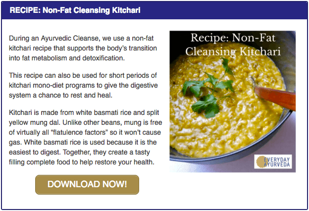 Non-fat kitchari pop-up